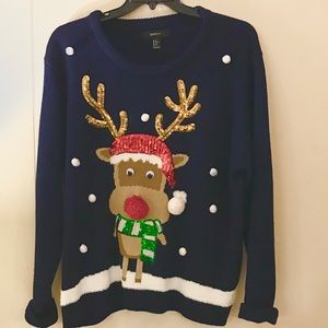Navy Rudolph Christmas Sweater